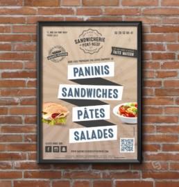 Affiche pour la Sandwicherie du pont Neuf dans le Vieux Lille